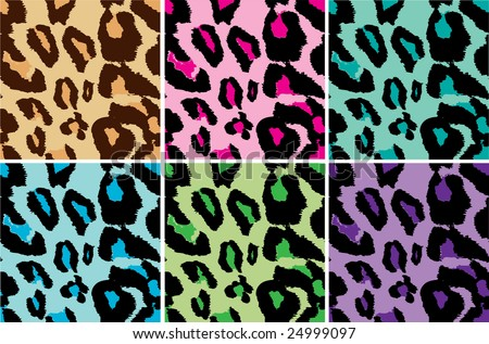 stock vector : Seamless Leopard Print tiling Vector, several color tiles,