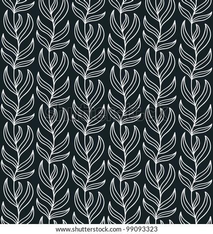 Seamless liana ornament. Black and white. Vector illustration