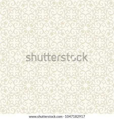 Seamless light background with beige pattern in baroque style. Vector retro illustration. Islam, Arabic, Indian, ottoman motifs. Perfect for printing on fabric or paper.