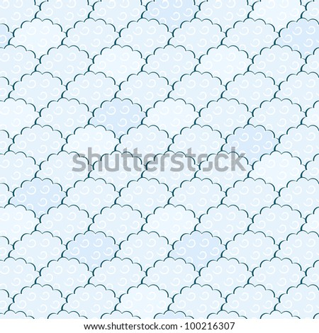 Seamless Light Blue and White Fluffy Cloud Pattern. Vector Illustration