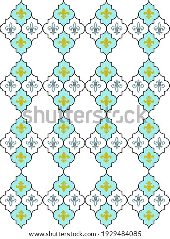 Seamless lily fleur de Lis background. Turquoise blue pattern with heraldic symbol fleur-de-lis. Modern abstract pattern. Vector illustration Photo stock ©
