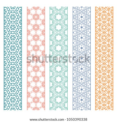 Seamless line borders patterns set, repeating texture. Tribal ethnic decorative geometric ornament, fashion lace collection. Isolated design elements for card, invitation, page decoration #1050390338
