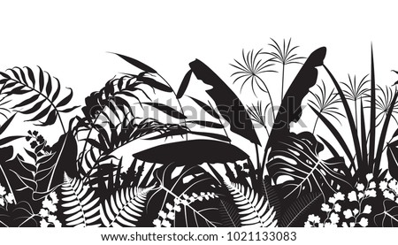 Seamless line horizontal pattern made with tropical plants silhouette. Black and white floral texture with flowers and leaves in row. Monochrome vector flat illustration.