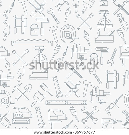Seamless line pattern with working tools for construction, building and home repair icons. Vector illustration. Elements for design. Hand work tools collection. Graphic texture for design, wallpaper.