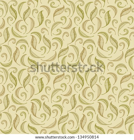 Seamless linear ornate pattern with leaves. Endless beige curly texture. Template for design fabric, backgrounds, wallpapers, covers, packages, wrapping paper