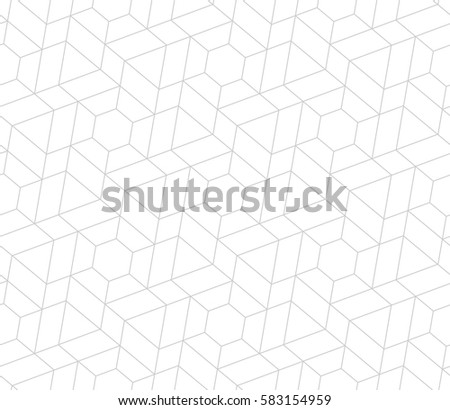 Seamless linear pattern with thin grey lines and polygons on white background. Abstract geometric texture. Perfect rapport to fill the background, laser engraving and cutting.
