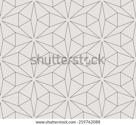 Seamless linear pattern with thin  lines and stars. Abstract Arabic ornament.