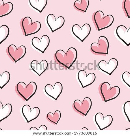 Seamless love heart design vector background. Seamless pattern on Valentine's day. The seamless texture with hart  Stockfoto ©