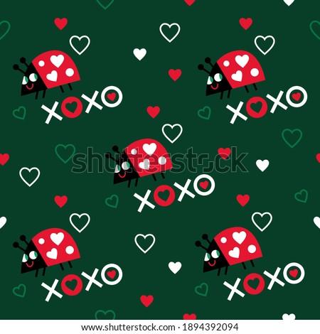 Seamless love pattern. Seamless ladybugs pattern. Ladybugs in love. Valentine's day pattern. Сток-фото ©