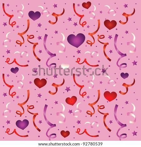 seamless love pattern with confetti - vector illustration