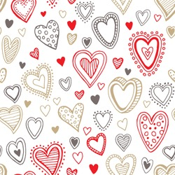 Seamless  love red and gold heart background. Vector illustration EPS10