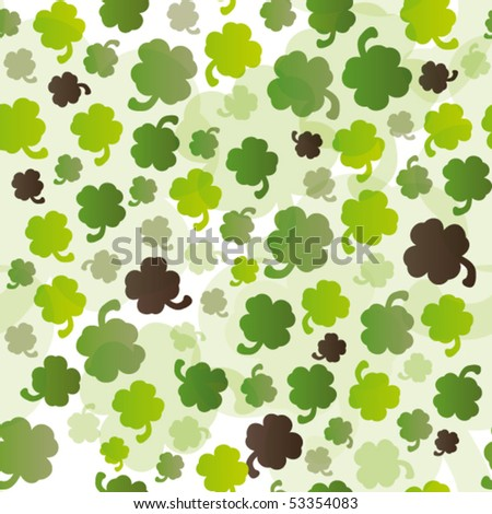 seamless lucky four leaf pepperwort pattern in vector