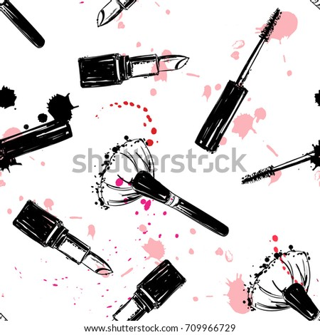 Seamless makeup cosmetics pattern. Vector hand drawn graphic fashion illustration: brush, makeup brush, lipstick, Brush of Mascara, mascara. Seamless pattern With pink and red ink sprays.