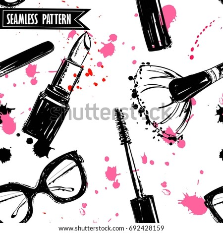 Seamless makeup cosmetics pattern. Vector hand drawn graphic fashion illustration: glasses,  makeup brush, lipstick, Brush of Mascara, mascara. Seamless pattern With pink and black ink sprays.