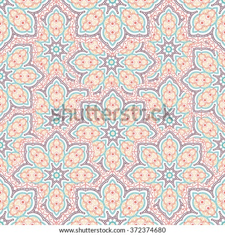 Seamless mandala pattern, repeating round print. Abstract floral background in the ethnic style. Arabic, indian, asian motif for fabric, web page, gift wrap, card, cover, wallpaper, and more. Vector
