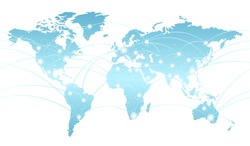 Seamless map of the global network system, vector illustration. Horizontally repeatable.