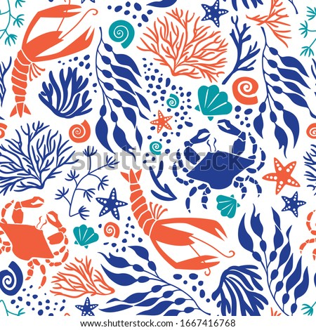 Seamless Marine Life Pattern Vector Lobsters Crabs Seaweed Coral Shells