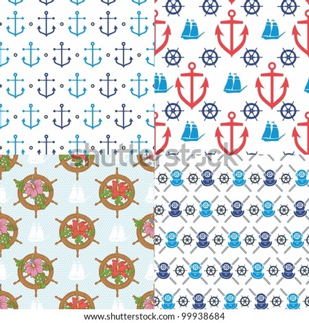 Seamless marine pattern - stock vector