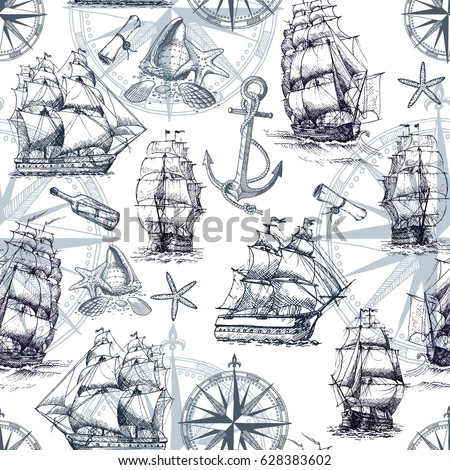 Seamless marine pattern in vintage style with sailing ships, compass, anchor, sea shells.