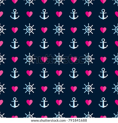 Seamless Marine pattern with anchor, steering wheel and pink heart. Cute Marine pattern for fabric, background, wrapping paper and other decoration.Vector illustration