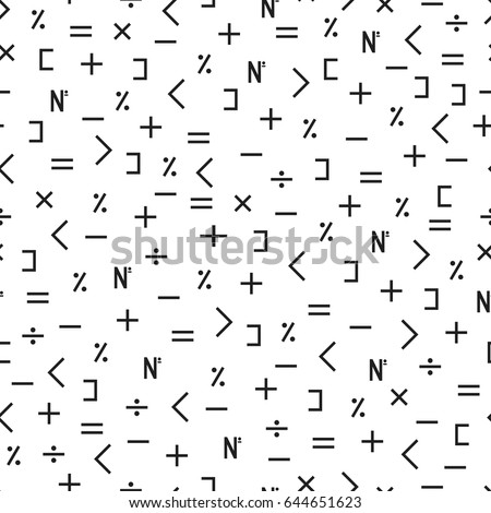 Seamless mathematical symbols pattern. Repeated math design elements.
