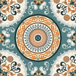 Seamless medallion Vintage multi color pattern in Turkish,Indian style. Endless pattern can be used for ceramic tile, wallpaper, linoleum, textile, web page background. Vector