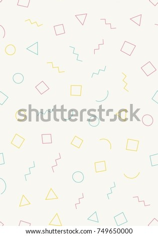 Seamless memphis pattern with light background with different shapes. Trendy memphis style. Vector repeating texture.
