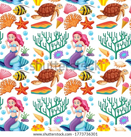 Seamless mermaid and sea animal cartoon character on white background illustration