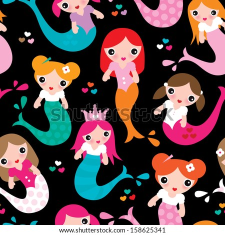 Seamless mermaid girls illustration background pattern in vector