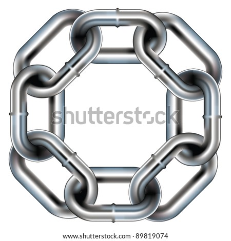 Seamless metal chain link border, background, or pattern with rounded corners - vector
