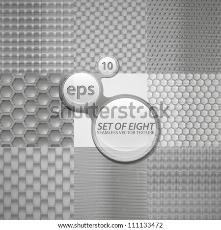 Seamless metal texture eps10 vector pattern, set of eight different surfaces