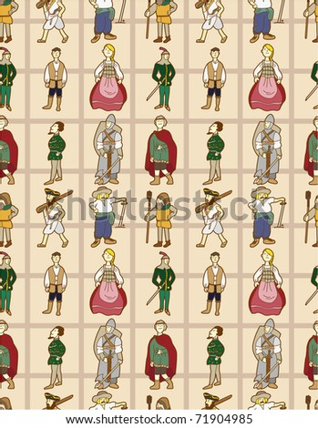 seamless Middle Ages people pattern