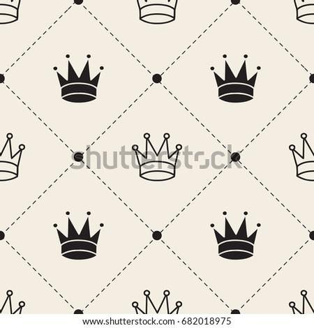 seamless monochrome  crown with dot and grid pattern background