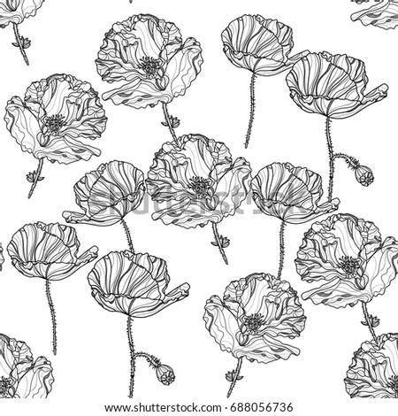 Seamless monochrome floral pattern with poppy flowers on white background . Vector illustration. Typography design elements for prints, cards, posters, products packaging, branding.