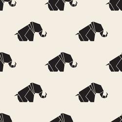 seamless monochrome origami elephant pattern background