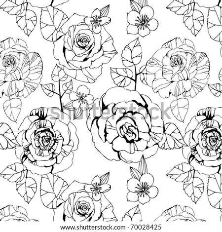 seamless monochrome pattern with roses - stock vector