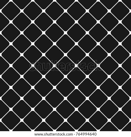 Seamless monochrome rounded square grid pattern background - vector graphic design from diagonal squares