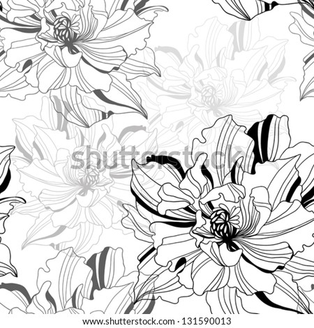 seamless monochrome vector pattern from abstract flowers