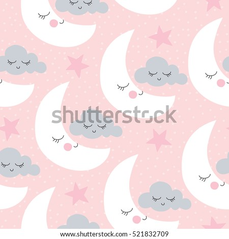 seamless moon and clouds pattern vector illustration