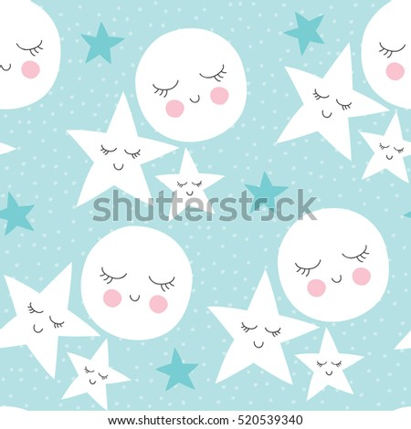 seamless moon and stars pattern ...