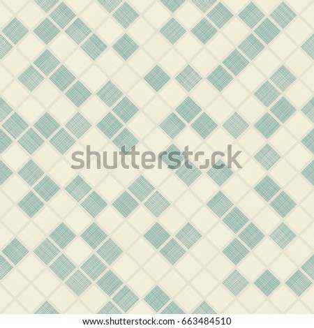 Seamless mosaic pattern on texture background. Endless geometric pattern can be used for ceramic tile, wallpaper, linoleum, textile, wrapping paper, web page background. Vector illustration
