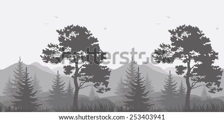 Seamless, mountain landscape with pines, conifer trees, birds and grass, gray silhouettes. Vector