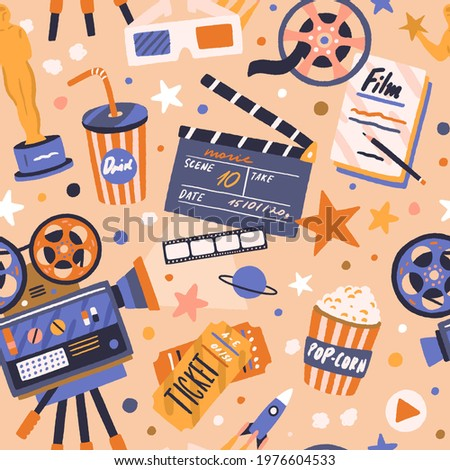 Seamless movie pattern with cinema items. Endless background with film tape, camera, projector, clapperboard, cinematography award, tickets, and popcorn. Colored flat vector illustration for printing