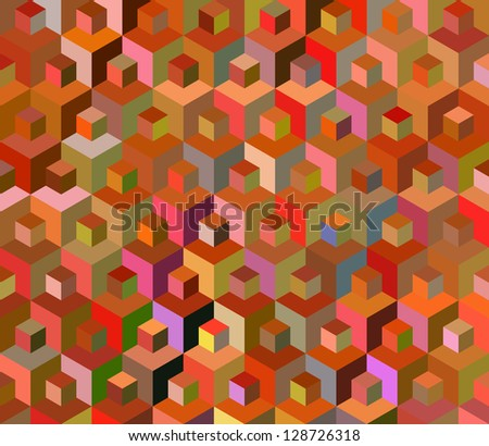 Seamless multicolored cubes pattern - illustration