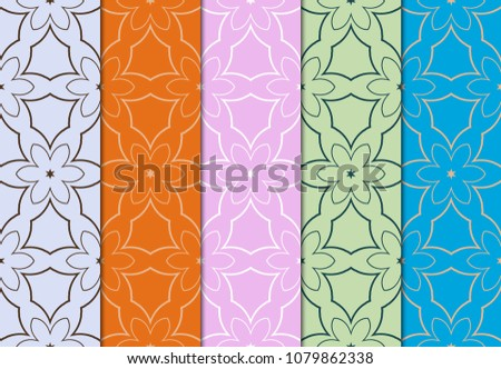 seamless multicolored sets with geometric pattern gor vector illustration #1079862338