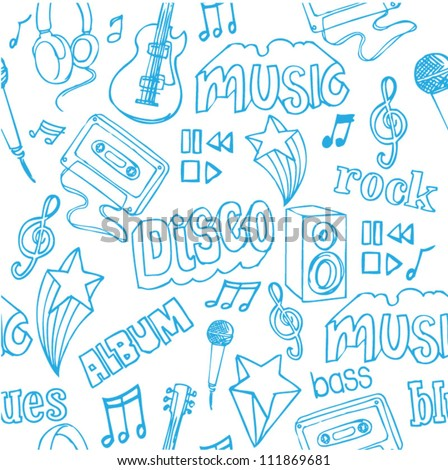 Seamless music doodles background