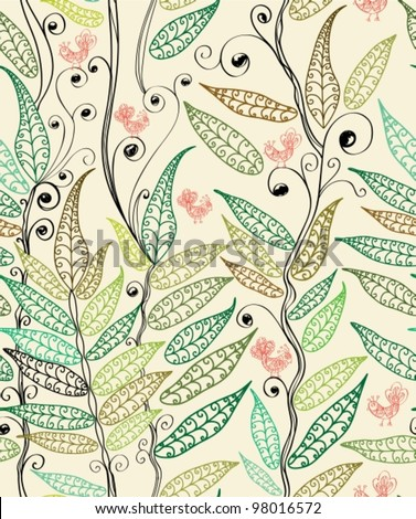 seamless natural background with fern and bird, plant vector illustration