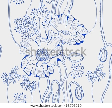 seamless natural background with poppies, vector plant illustration
