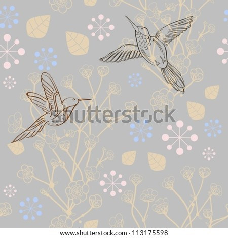 Seamless natural pattern with bird and flower, background, vector