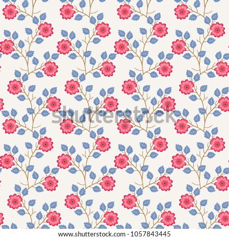 Seamless natural pattern with stylized blooming plants isolated on light background. Blue leaves and pink flowers. Vector spring design. Paper, wallpaper, print for fabric.